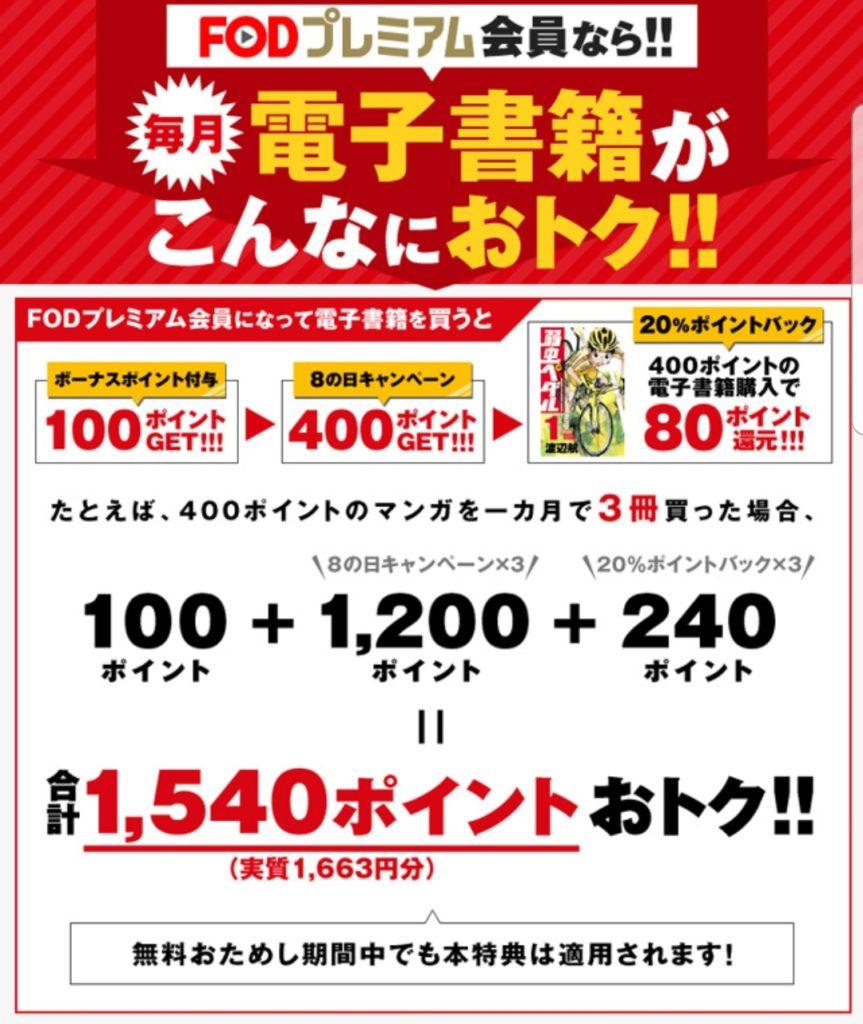 FODは無料期間中に貰える1300ポイントで漫画が無料で読める